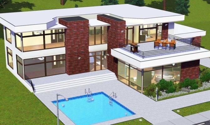 Modern House Floor Plans Sims Mod White Glass
