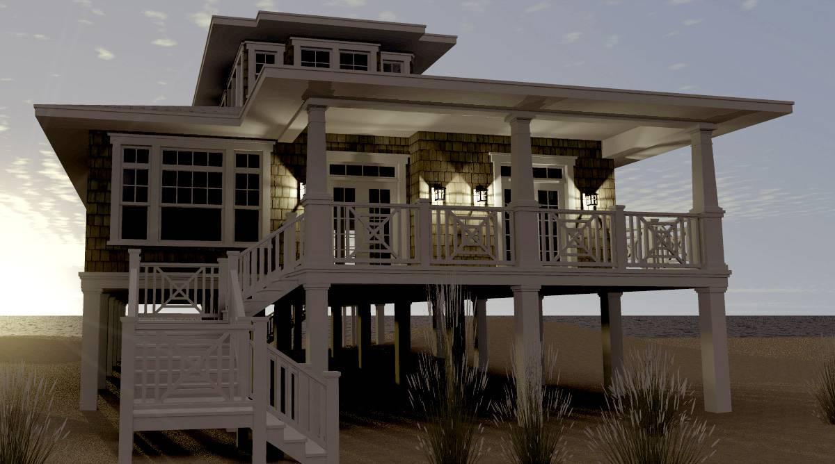 Modern House Plans Stilts Plan Elevated Beach Pilings