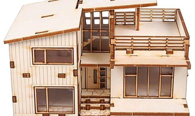 Modern House Wooden Model Construction Kit Woodcraft