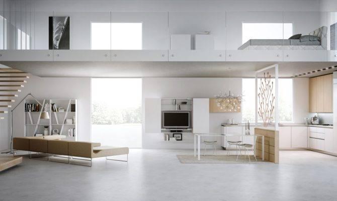 Modern Loft House Fire Place Design Interior Home