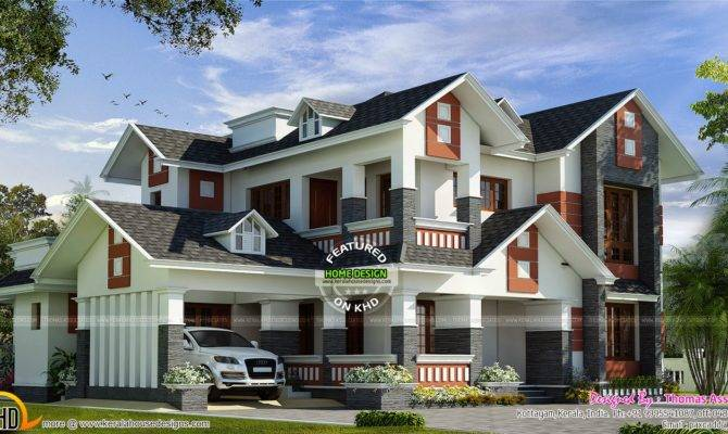 Modern Mix House Dormer Windows Kerala Home Design Floor