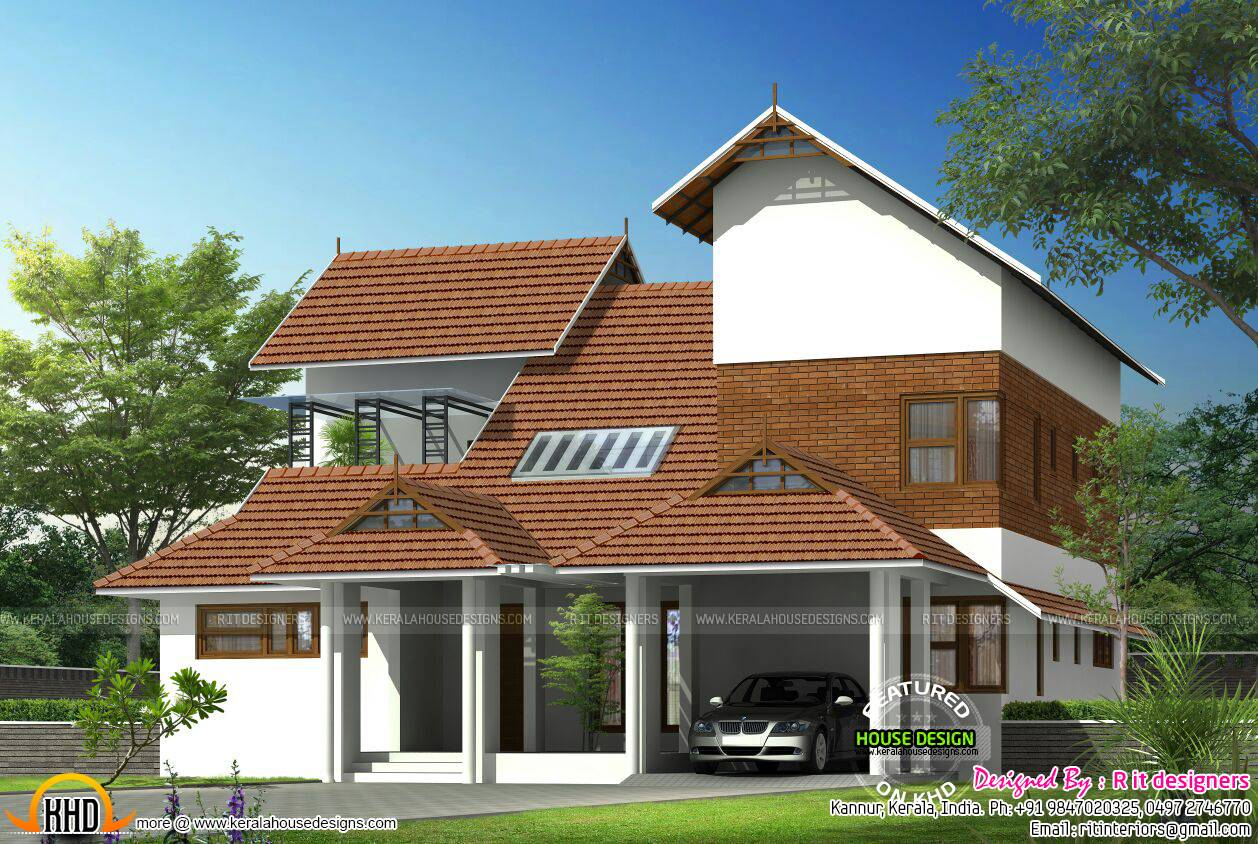 Modern Mix Sloped Roof Home Kerala Design Floor House Plans 127778