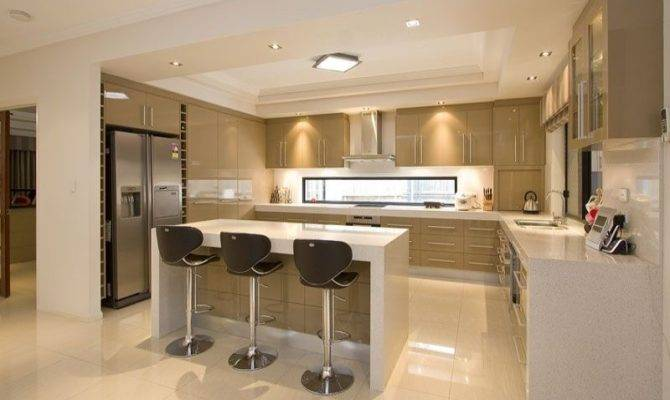 Modern Open Plan Kitchen Design Using Polished Concrete