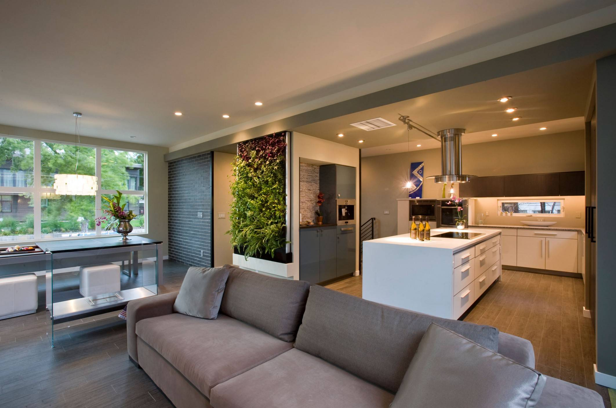 Modern Open Plan Living Room White Kitchen Island House Plans 103704