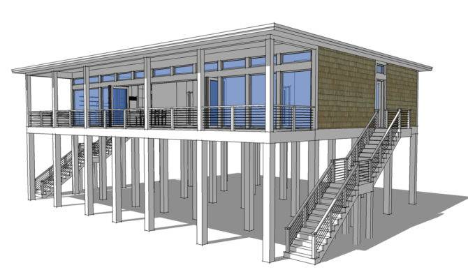 Modern Piling Loft Style Beach Home Plan