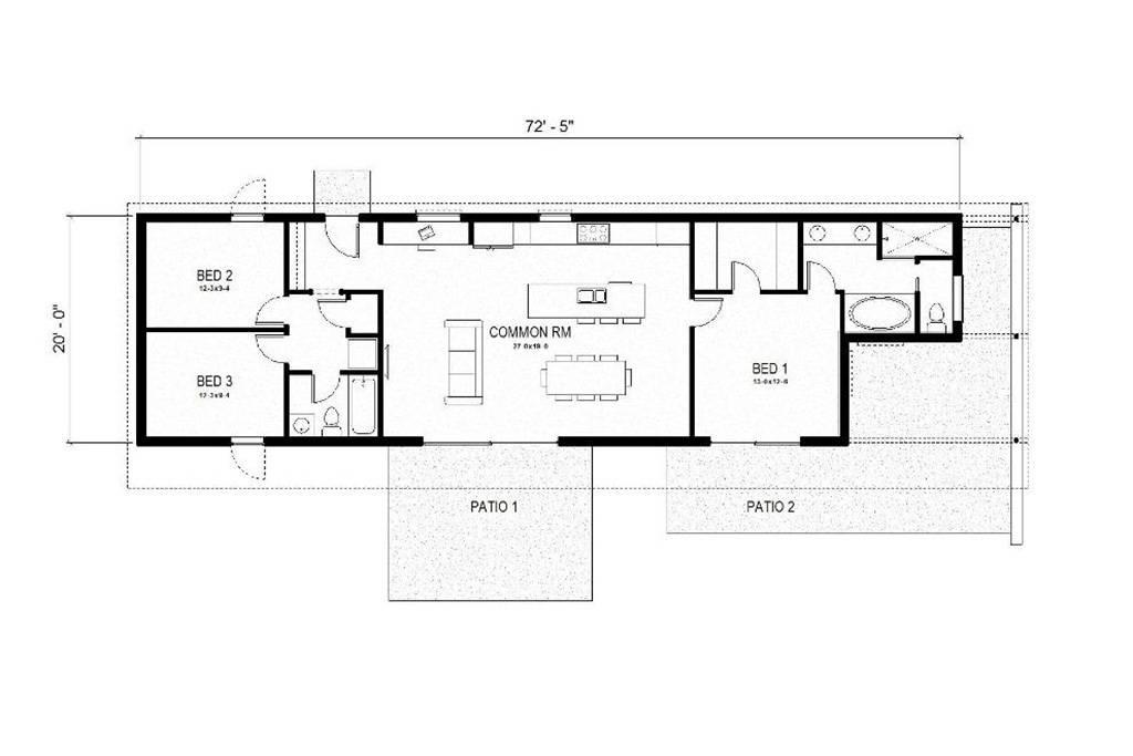 Modern Rectangular House Floor Plans
