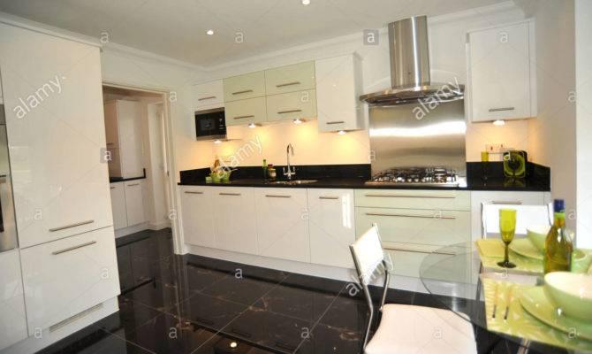Modern Show Home Kitchen Black Granite Worktops