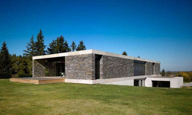 Modern Stone Wall House White