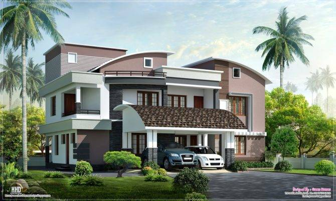 Modern Style Luxury Villa Exterior Design Home Kerala Plans