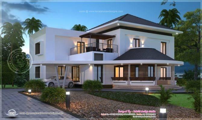 Modern Villa Elevation Designed Aakriti Design Studio Dubai Kerala