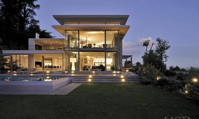 Modern Villa Sunset Seen Backyard
