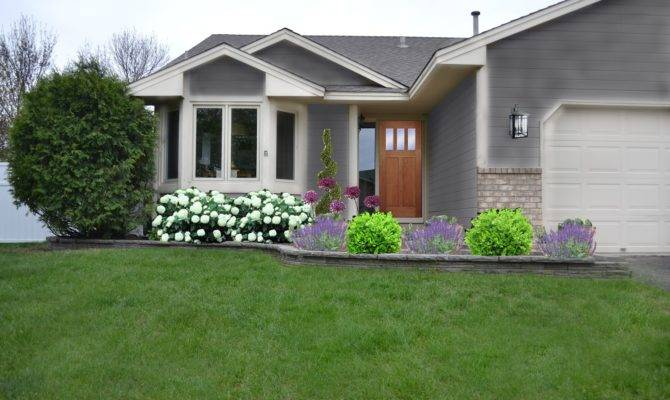 Modern White Off Wall Garden Front House Ideas