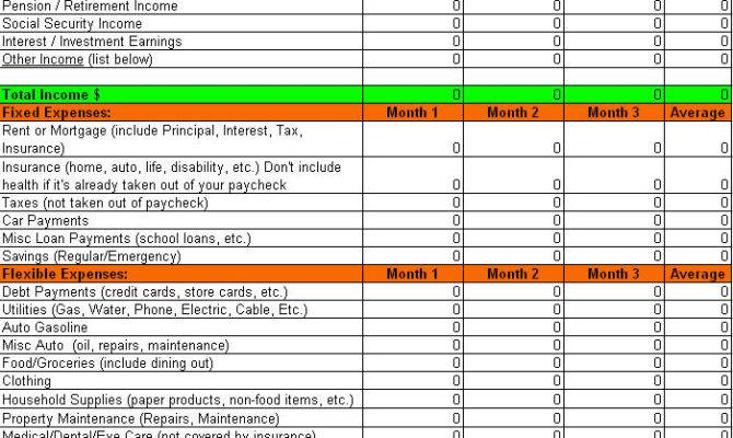 Monthly Household Budget Worksheet Excel Four Top