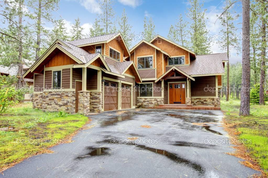 Mountain Luxury Home Stone Wood Exterior House Plans 32681