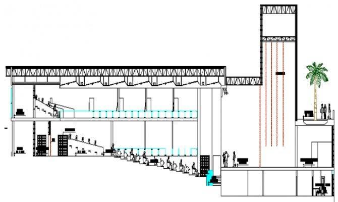 Multiplex Theater Architecture Design Elevation Dwg