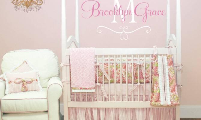 Name Wall Decal Baby Nursery Shabby Chic Heart Frame