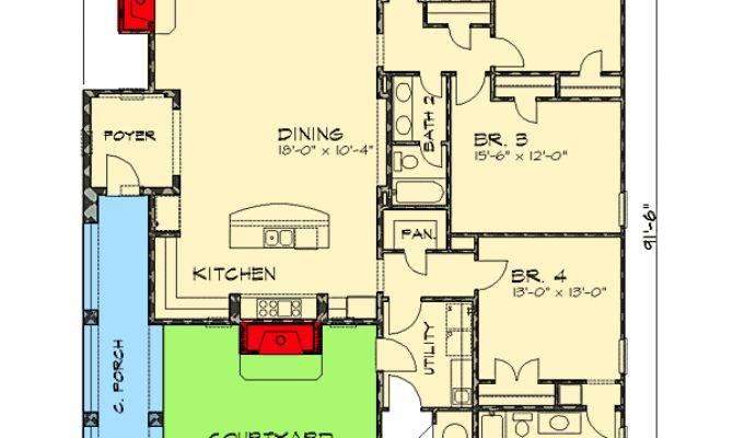 Narrow Lot Courtyard Home Plan Architectural