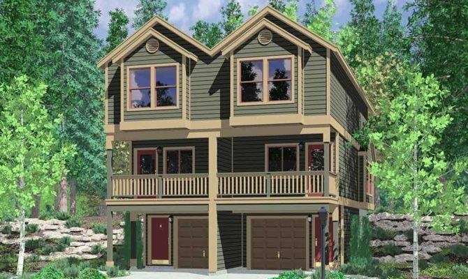 Narrow Lot Townhouse Plans Duplex House Level