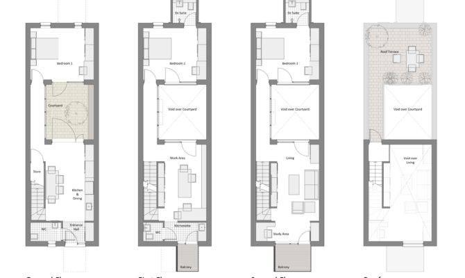 Narrow Row House Floor Plans Google Search Houses