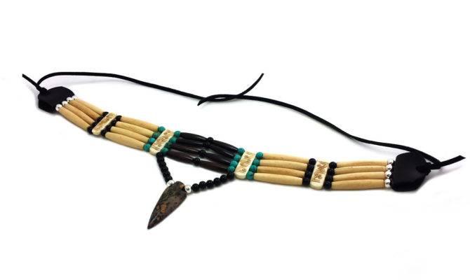 Native American Style Row Bone Hairpipe Arrowhead
