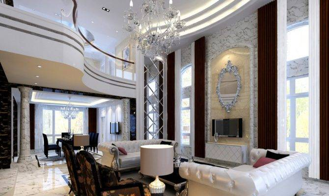 Neoclassical Style Villa Living Dining Room Model