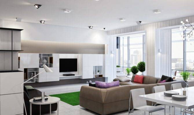 Neutral Open Plan Living Room