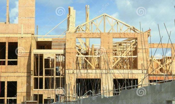 New Building Under Construction Framing Trusses