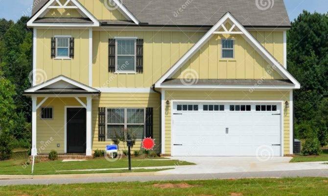 New Yellow House Garage Home