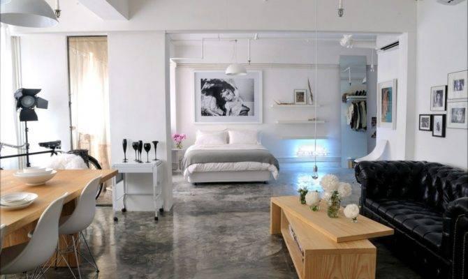 Nice Open Floor Plans Loft Concrete Flooring