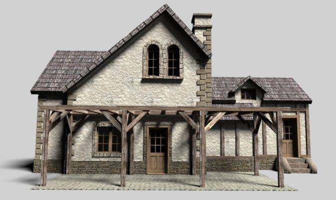 Old Cottage House Model Obj Stl Skp Wrl Wrz