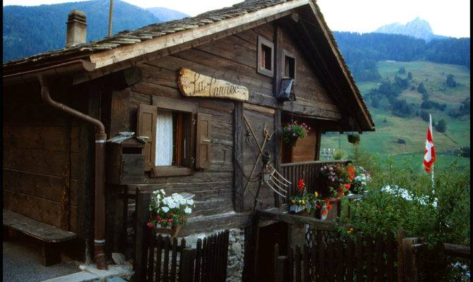 Old House Alps Swiss Switzerland Wood Architecture Flowers Garden Flag