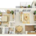 One Bedroom Floor Plan Shows Off Modern Design Elements Like