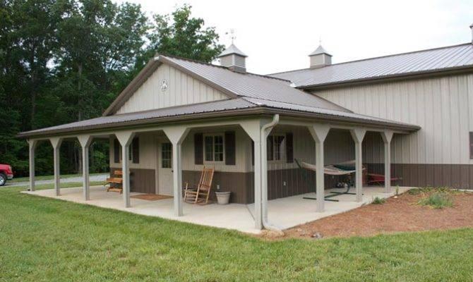 One Kind Metal Building Farm Porch Kitch Area