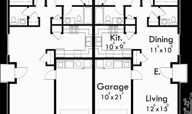 One Story Duplex House Plans Narrow Bedroom