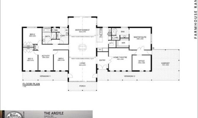 One Story Floor Plan Bedrooms Open Kitchen