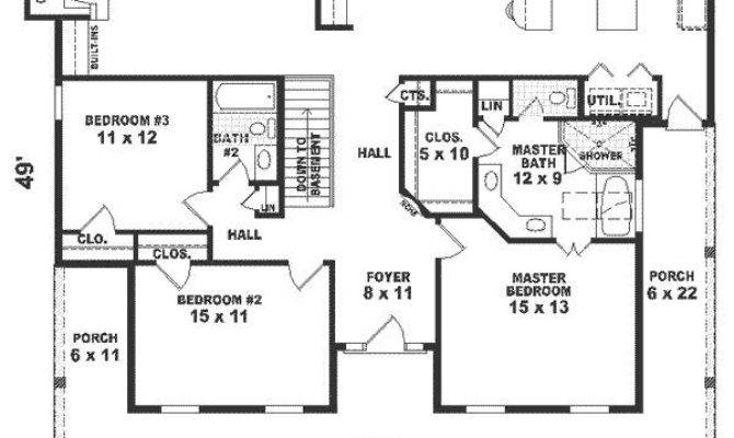 One Story House Plans Square Feet Bedroom House Plans 120220