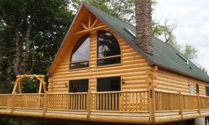 One Story Log Home Wrap Around Porch