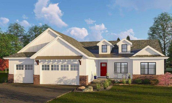 One Story Modern Farmhouse Plan Vaulted Great Room