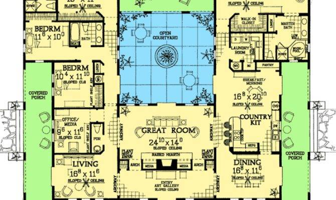 Open Courtyard House Floorplan Southwest Florida