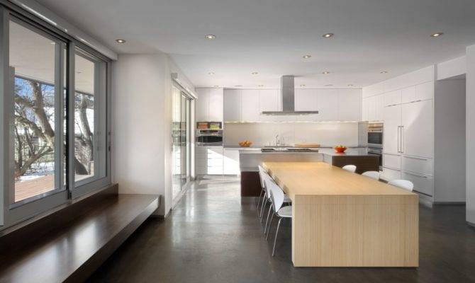 Open Dining Room White Kitchen Brilliant Minimalist