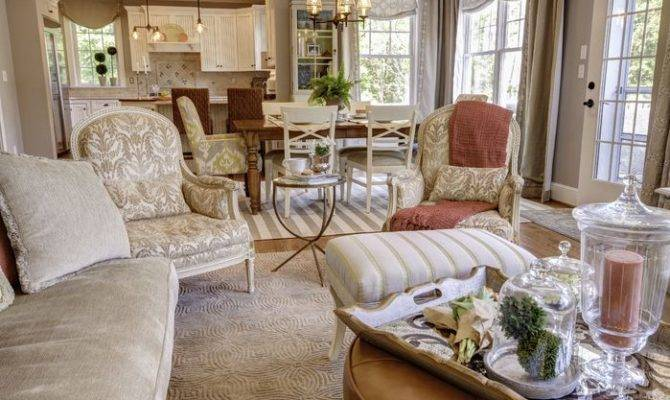 Open Floor Plan Cottage Country Living Room Photos Embellish