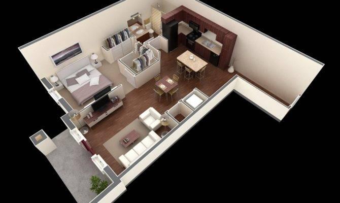 Open Floor Plan Give One Bedroom Bathroom Apartment