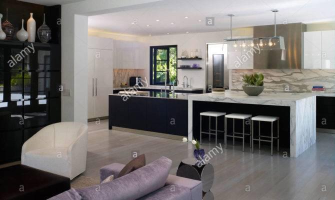 Open Plan Living Room Kitchen Stone House Atherton