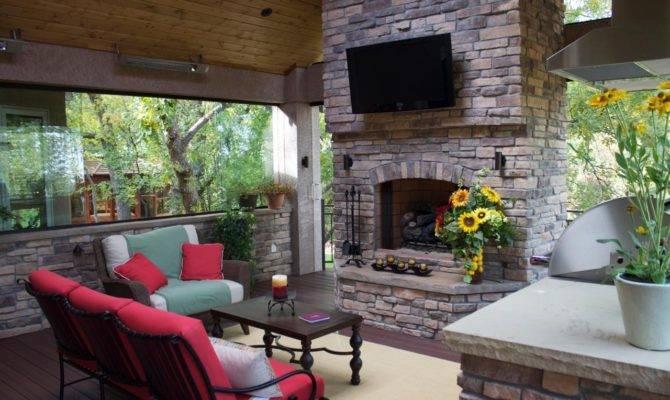 Outdoor Decks Fireplaces Ideas Bistrodre Porch