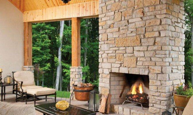 Outdoor Fireplace Adds Warmth Covered Porch