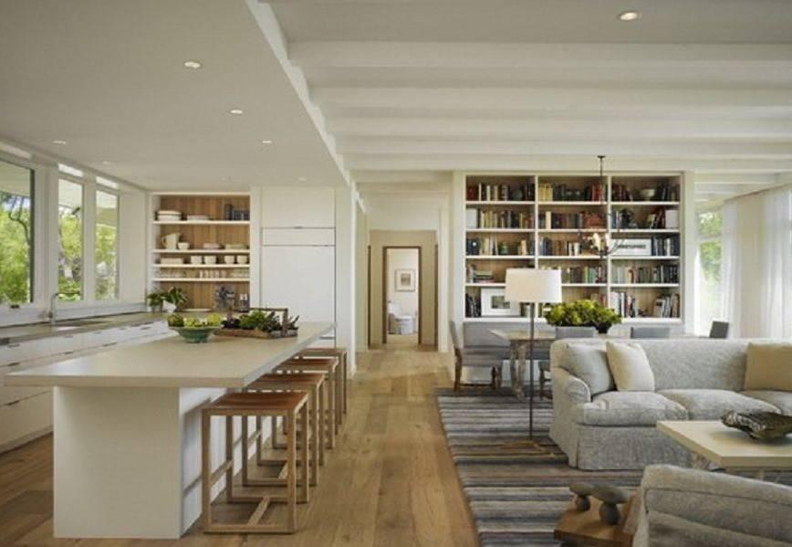 Outstanding Open Floor Plan Kitchen Dining Living Room White Bookshelf House Plans 8816