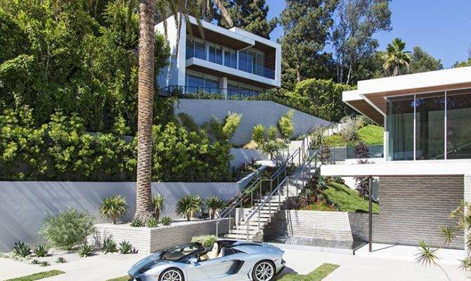 Parked Front Sunset Plaza Drive Modern Mansion Los Angeles