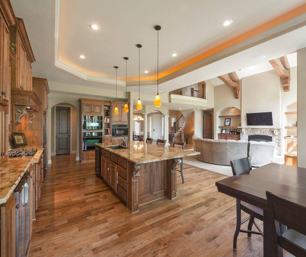 partially open concept kitchen traditional  house plans