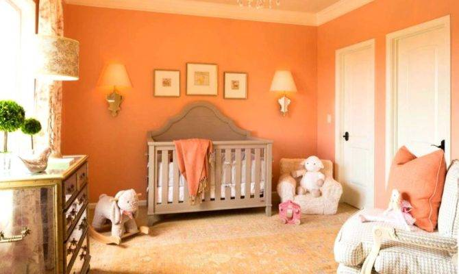 Peach Colour Sitting Room Wall Orange Gray Living