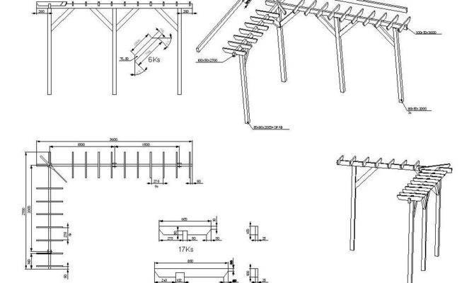 Pergola Construction Details Cad Drawing Cadblocksfree